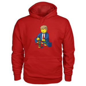 Trump Building Wall Hoodie - Cherry Red / S - Hoodies