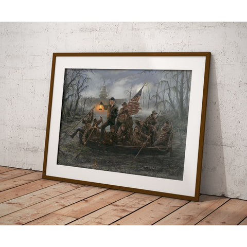 Trump Crossing The Swamp - Litho Print (Choose Your Size) (No Frame)