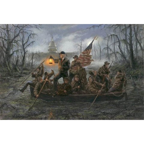 Image of Trump Crossing The Swamp - Litho Print (Choose Your Size) (No Frame)