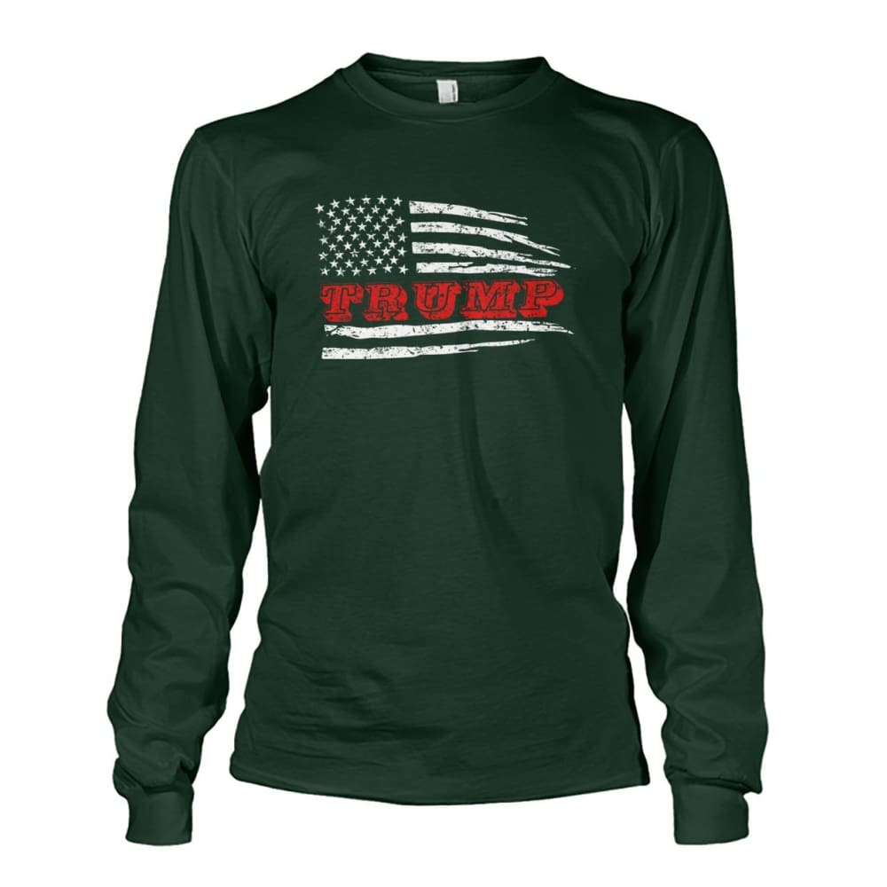 Trump Flag Long Sleeve - Forest Green / S - Long Sleeves