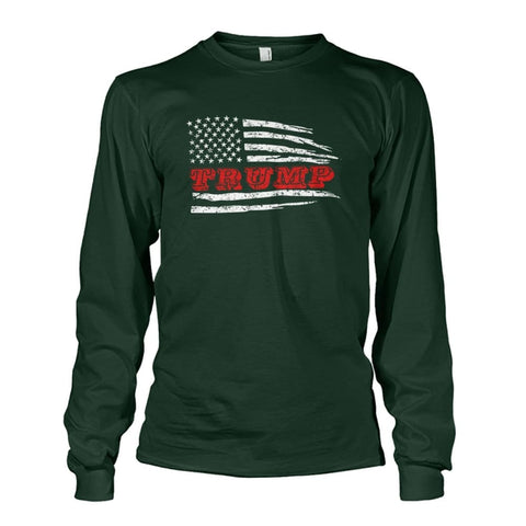 Image of Trump Flag Long Sleeve - Forest Green / S - Long Sleeves