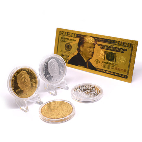 Donald Trump 2020 Coin Set Including Gold Bank Note