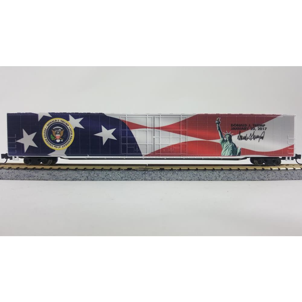 Trump Inaugural Boxcar Toy Train Piece (CHOOSE YOUR SCALE AND TRACK) - N 85ft (1/160 Scale) With 10 Inch Display Track