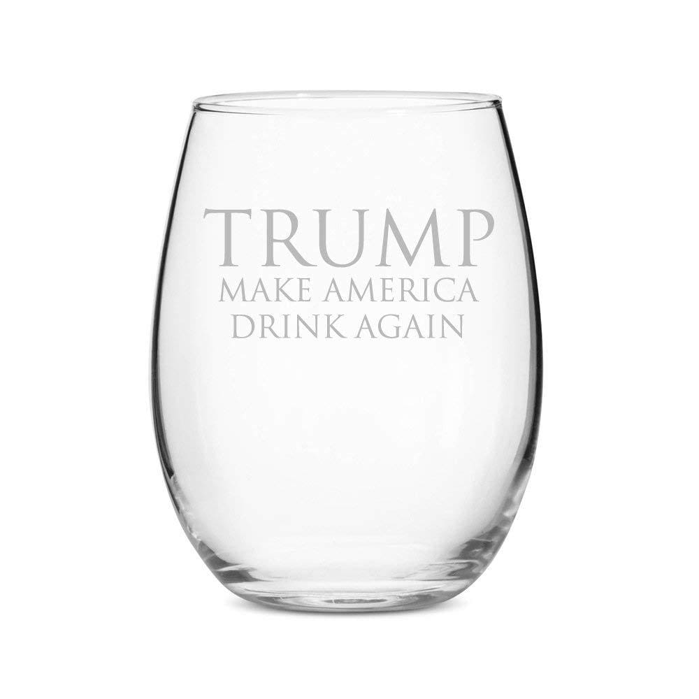 Trump Make America Drink Again Stemless 15 oz Wine Glass - Drinkware