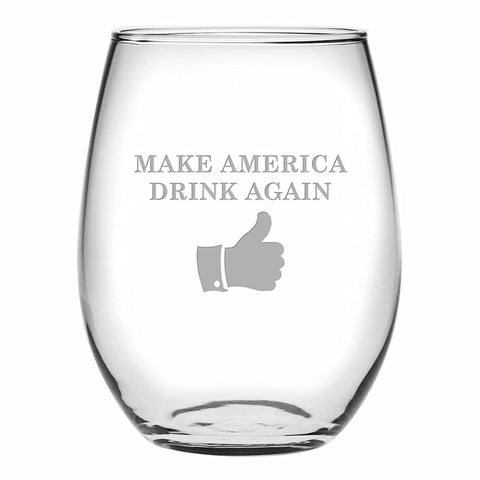 Image of Trump Make America Drink Again Thumbs Up Stemless 15 oz Wine Glass - Drinkware