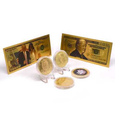 Donald Trump & Melania 2020 Gold Coin Set Including Gold Bank Notes