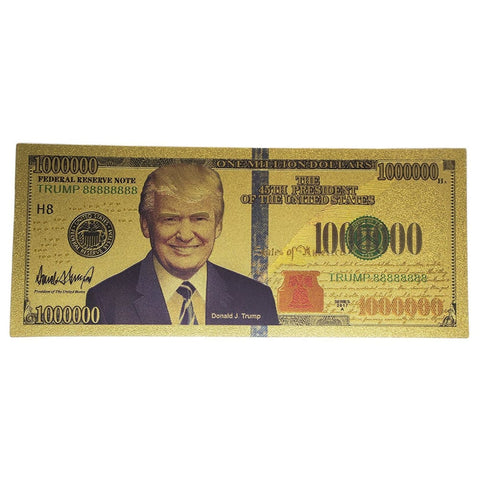 Image of Trump Million Dollar 24kt Gold Plated Bank Note