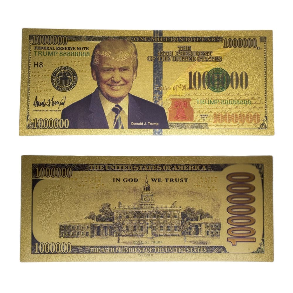 Trump Million Dollar 24kt Gold Plated Bank Note