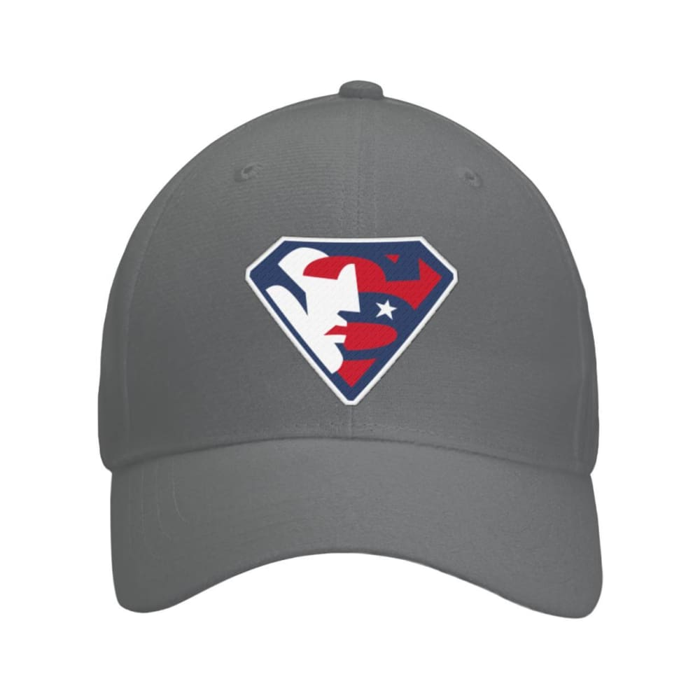 Trump Superman Hat - Dark Grey / OS / Curved Bill Velcro Strap - Hats