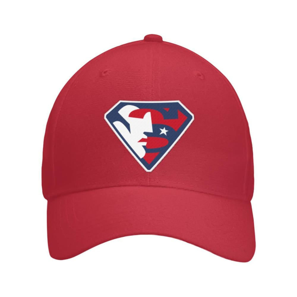 Trump Superman Hat - Red / OS / Curved Bill Velcro Strap - Hats