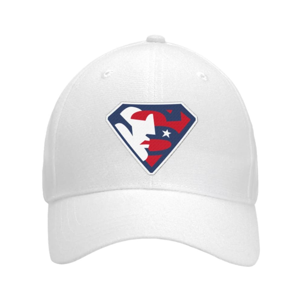 Trump Superman Hat - White / OS / Curved Bill Velcro Strap - Hats