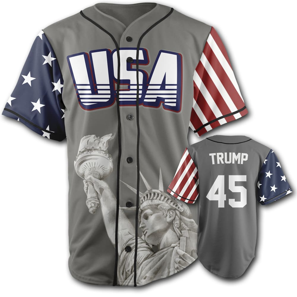 USA Custom Trump #45 Baseball Jersey (Grey) - Trump #45 Baseball Jersey / Gray / S