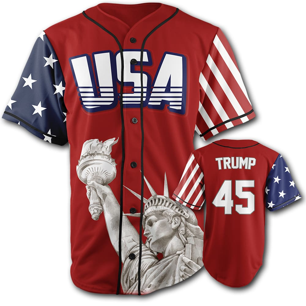 USA Custom Trump #45 Baseball Jersey (Red) - Trump #45 Baseball Jersey / Red / S