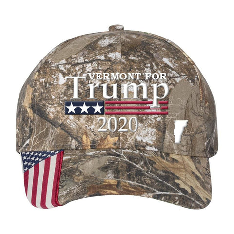 Image of Vermont For Trump 2020 Hat - Realtree Edge