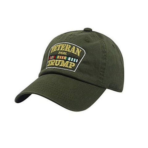 Image of Veterans for Trump Cotton Hat (Army Green)