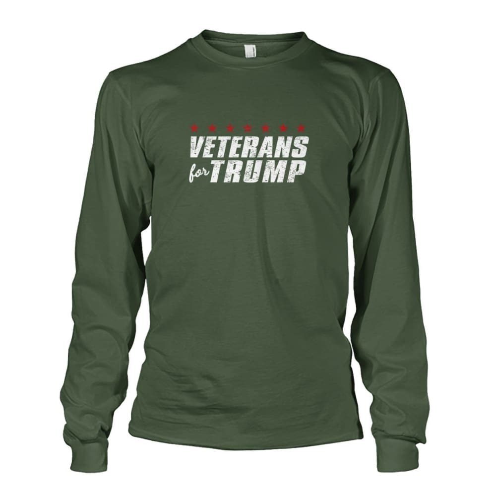Veterans For Trump Long Sleeve - Military Green / S / Unisex Long Sleeve - Long Sleeves