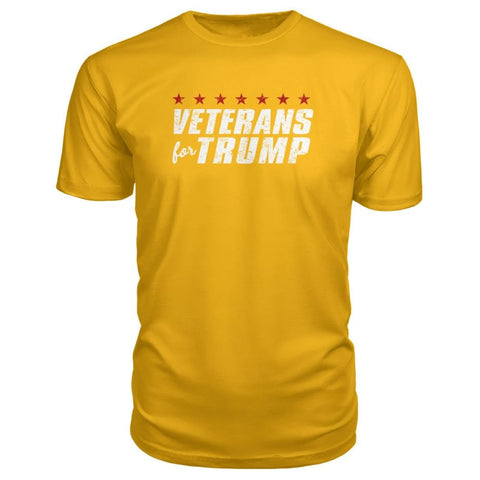 Image of Veterans For Trump Premium Tee - Gold / S / Premium Unisex Tee - Short Sleeves