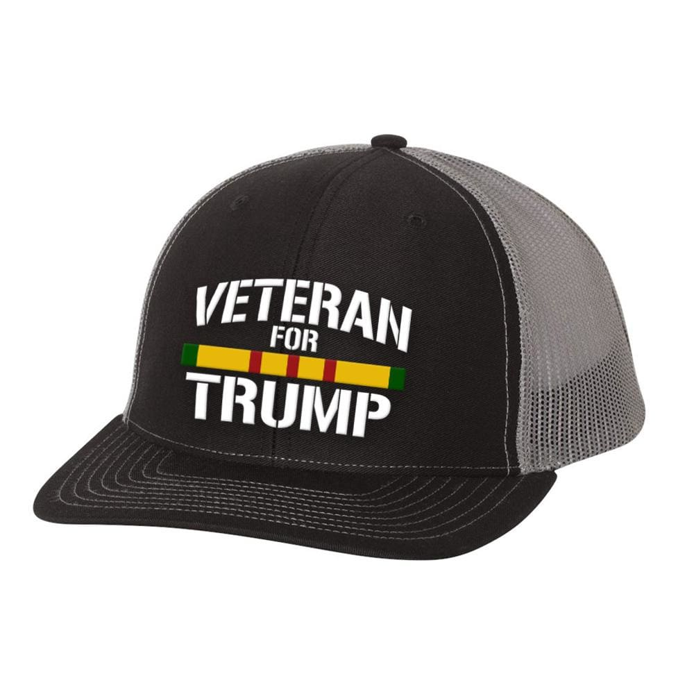 Vietnam Veteran For Trump Trucker Hat - Black & Charcoal - Hats
