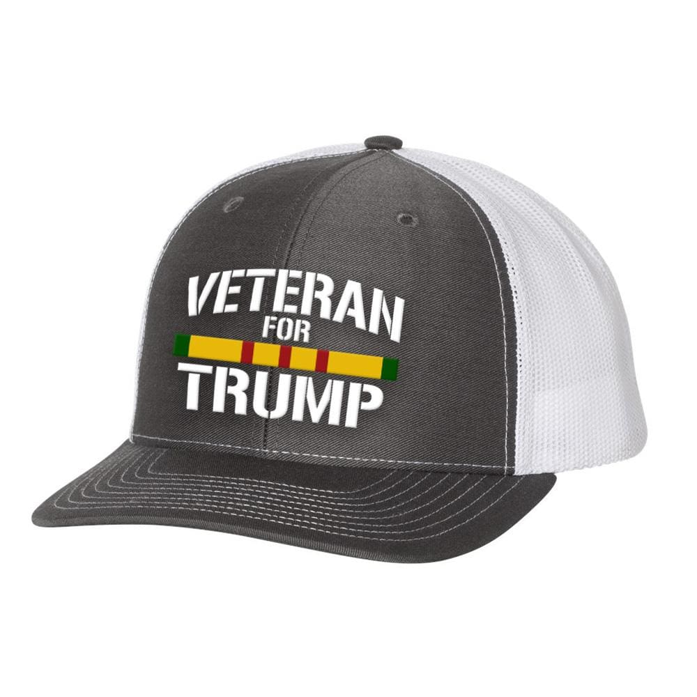 Vietnam Veteran For Trump Trucker Hat - Charcoal & White - Hats