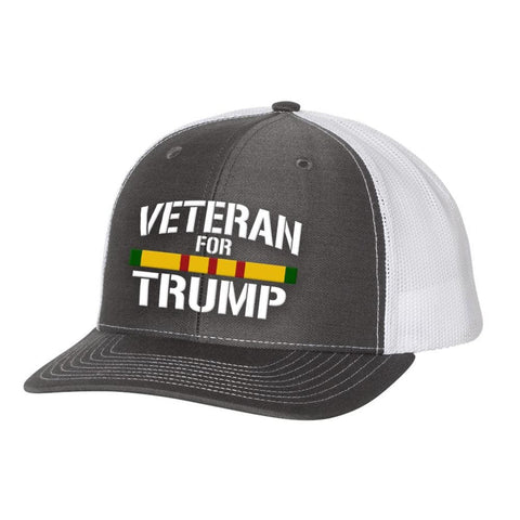 Image of Vietnam Veteran For Trump Trucker Hat - Charcoal & White - Hats