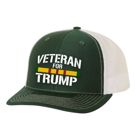 Image of Vietnam Veteran For Trump Trucker Hat - Dark Green & White - Hats