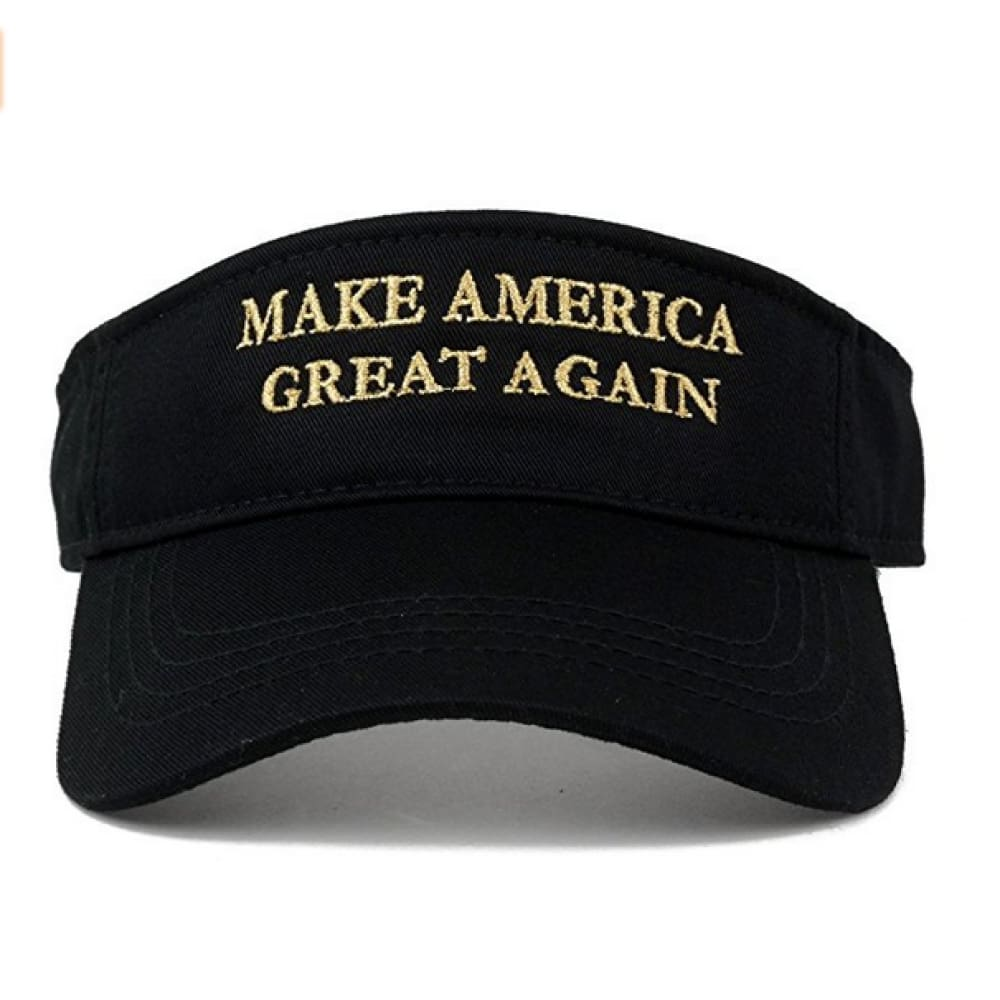 Visors: Make America Great Again - Choice Of Color - Black With Gold Text - Headwear