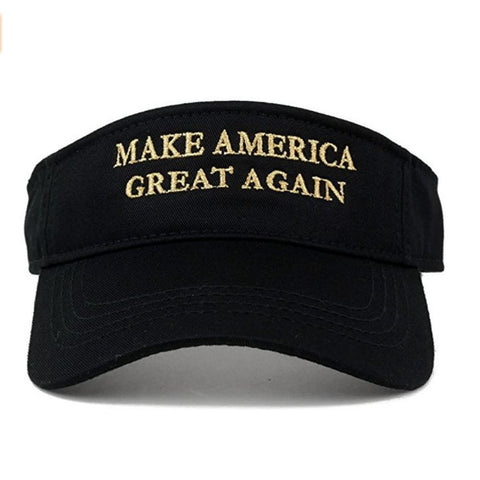 Image of Visors: Make America Great Again - Choice Of Color - Black With Gold Text - Headwear