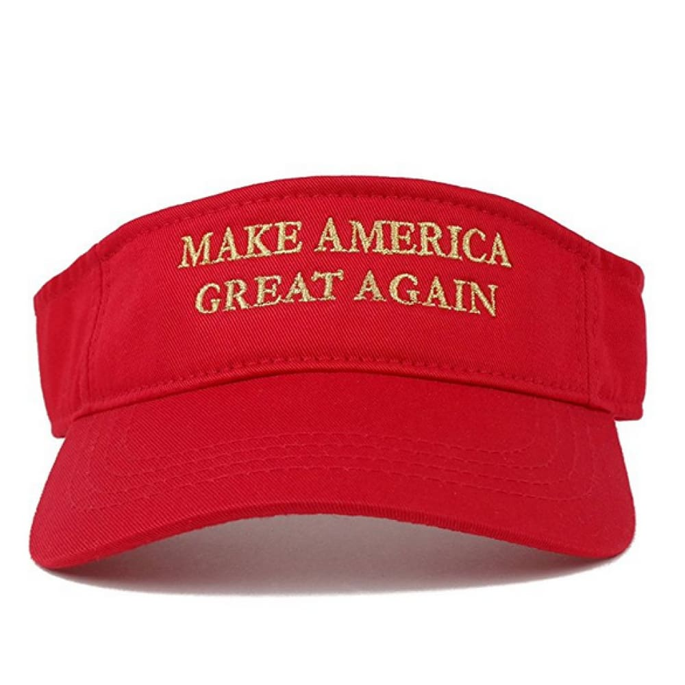 Visors: Make America Great Again - Choice Of Color - Red With Gold Text - Headwear