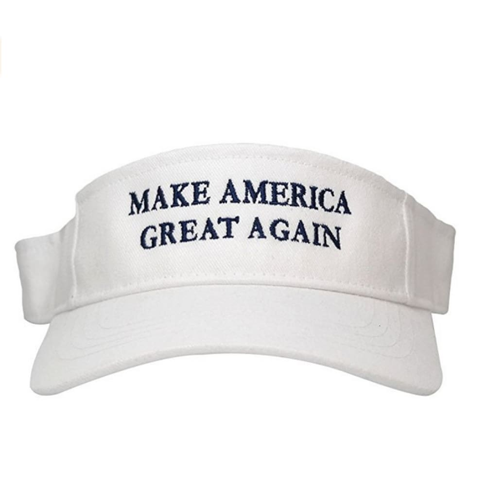 Visors: Make America Great Again - Choice Of Color - White With Blue Text - Headwear