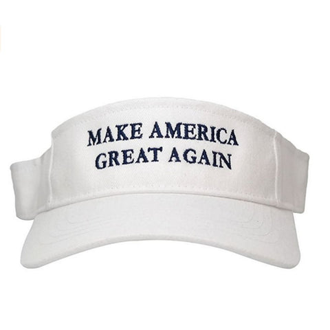 Image of Visors: Make America Great Again - Choice Of Color - White With Blue Text - Headwear