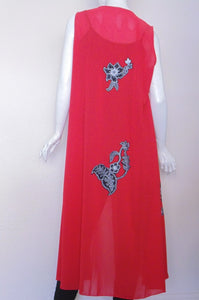 Scarlet Red Handcrafted Applique Design ( Women Coat)