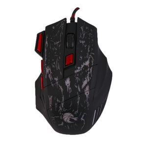 7 Buttons Colorful Crack Pattern Adjustable Wired Gaming Mouse