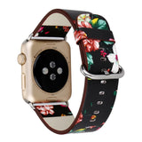 Floral Leather Wrist Strap for Apple Watch