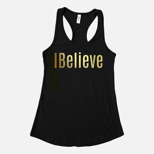 I Believe Gold Foil Tanks Top