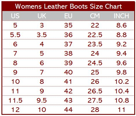 Womens Leather Boots Size Chart