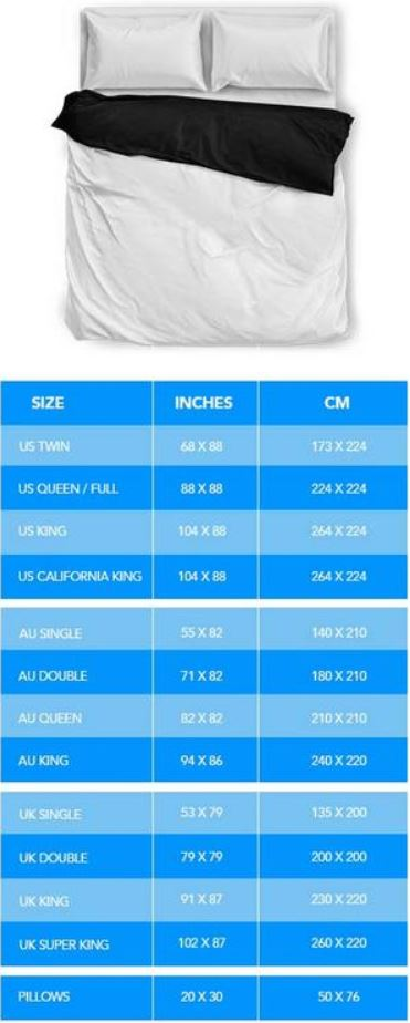 Bedding Sizing Chart