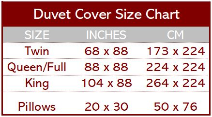 Bedding Size Chart