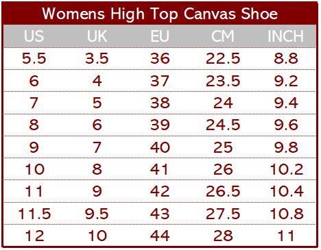 High Top Shoe Sizing Chart