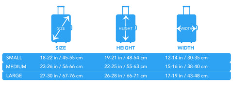 luggage cover sizing chart