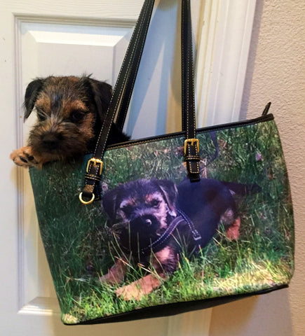 Leather Border Terrier Tote