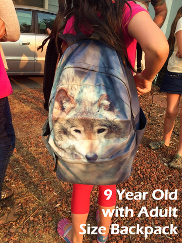 Adult Sized Wolf Backpack on 9 Year Old