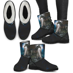 Handcrafted Black Stallion Secret Waterfall Horse Ugg Style Boots