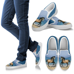 Rose Gray Stallion Slip On Shoe - Vans Shoes Style for Horse Lovers –Exclusive Artwork - Blue and Grey - For Men, Women and Kids!
