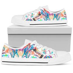 Women's Striking Watercolor Horse Sneakers Footwear - Multi-Color Horse  on White Converse Low Cut Style - White Sole
