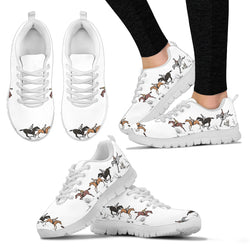 Women's Cross Country Horse Sneaker - Sketcher Shoes Style with Brown and Black Horses on a White Shoe with a White Sole