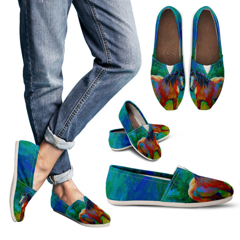 Buckskin Horse Painted Women's Casual Shoes to Wear with Jeans - Blue Green Brown - Exclusively Licensed Artwork Ladies Casual Slip On Shoes