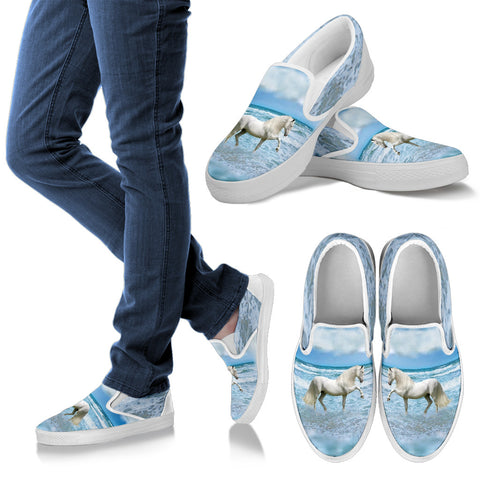 White Stallion in Surf Slip-On Shoes - Vans Shoes Style for Horse Lovers –Exclusive Artwork - Blue and White - Women's & Kids Sizes!