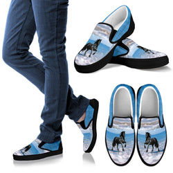 Black Stallion Horse on the Beach Casual Slip On Shoes - Vans Shoes Style - Black or White Sole - Licensed Artwork - Women's & Kid's Sizes