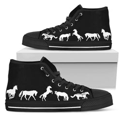 Women's Stylish Horse Lover's Sneakers Footwear - White Horses Silhouettes on  Converse High Tops Style - Black Canvas Shoe with Black Sole