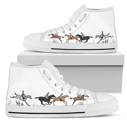 Women's Cross Country Horse Lover's Sneakers Footwear - Brown Horses on Converse High Tops Style - White Canvas Shoe with White Sole